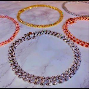 Women's Fashion Cubic Zirconia Link Necklace Chain